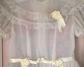 Girls Vintage Dress 1940s Breathtaking Ethereal Gray Shabby Chic for children - or display Size 4-6 range