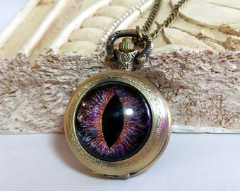 "Hand-Painted ""Galactic Chaos"" Multicolor Dragon Eye on Antique Bronze Pocket Watch with Chain Necklace"