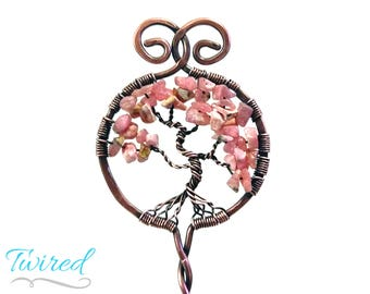 "Rhodochrosite and Antiqued Copper Tree of Life Hair Stick (6"" Stem)"