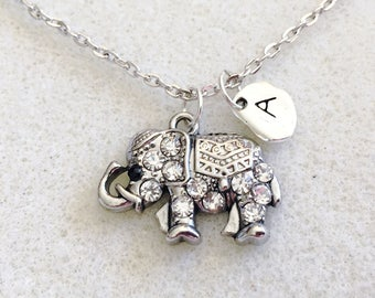 Elephant necklace personalized gift initial necklace elephant jewelry elephant baby shower elephant gifts good luck necklace gift for mom