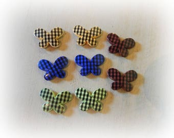 8 butterflies acrylic 30 * 20 mm mixed color Plaid