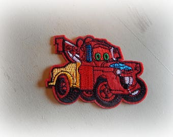 applique / patch red truck iron-on or sew 8.5 * 6 cm