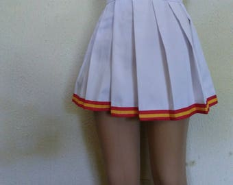 White Trim Red Gold Cheerleader Uniform Football Game Halloween Costume Skirt