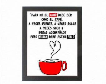 Framed Wall Art - Coffee - Love - Cafe - Amor