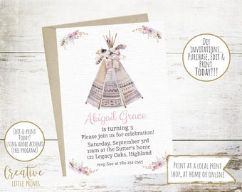 INSTANT DOWNLOAD - Bohemian 'Boho' Invitation - Tee Pee Tribal Birthday Party Invite - Little Girl Pow Wow Birthday Party  #126