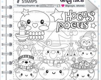 80%OFF - Halloween Stamp, Commercial Use, Digi Stamp, Digital Image, Halloween Digistamp, Halloween Party, Halloween Clipart, Pot Stamp