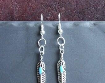 1 pair of earrings silver metal feathers