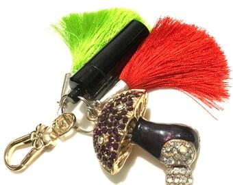 Mushroom Bag Dangle, Tassel Handbag Dangle, Versatile Key Ring, Teachers Xmas gift, Best Friend Gift, Caring Gift