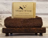 Handmade soap, wooden free draining soap dish, and 100% Egyptian cotton facecloth, tied together with natural raffia string. Christmas Gift