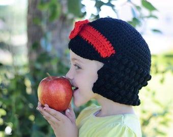 Snow White hat, yarn wig hat, Halloween hat, princess hat, dress up hat