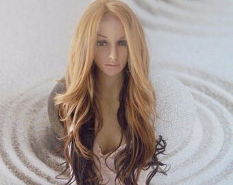 Ombre Human hair blend honey 27 mixed with brown Lace Front Wig. 29''