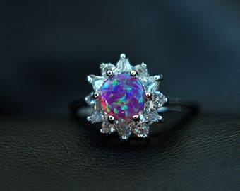 Fire Opal & CZ Crystals Sterling Silver 925 Ring Size 6