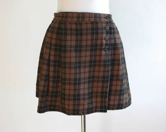 90s Brown and Black Plaid Wool Skirt - High Waist Plaid Skirt - Wool Skirt - Simple Preppy Skirt - Brown Plaid Skirt - Size Small