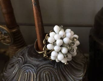 Vintage White Beaded Adjustable Ring