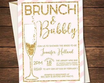 Brunch and Bubbly Bridal Shower Invitation, Brunch and Bubbly, Brunch and Bubbly Invitation, Bridal Shower Invitation, Sparkle Invitation