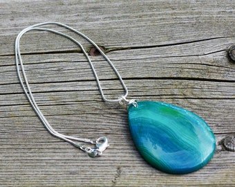 Blue Green Crazy Lace Agate Stone Pendant on a Sterling Silver Chain ~ Turquoise Agate Necklace ~ Stone Necklace ~ Teardrop Shape