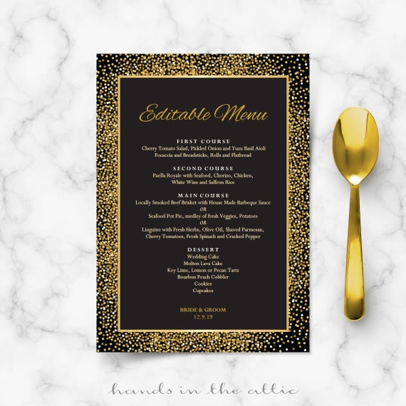 Rehearsal Dinner Menu Cards Black And Gold Wedding Menu Template