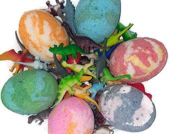 Kids Bath Bombs / 4pack Dinosaur egg bath bombs / surprise toy bath bomb / gifts for kids / bath bomb with toy/Easter Basket