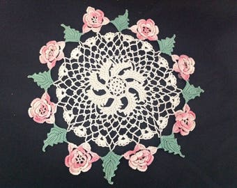 Two Charming Vintage Crocheted Doilies, One Doily with Pink Rose and Green Leaf Border