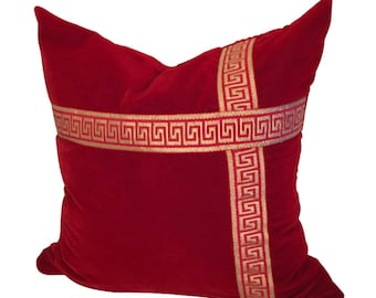Red and Gold Pillow, Red Velvet Cover, Red Pillow, Velvet  Pillow 20x20, Pillow Covers, Velvet Bow Pillow