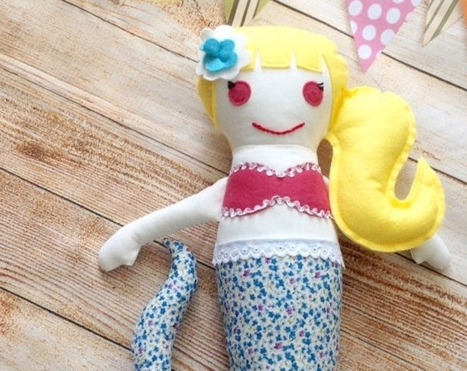 Xmas Mermaid Doll, Little Mermaid, Rag Doll,Fabric Doll, Cloth Doll, First Doll, Handmade Doll, Birthday Gift, Rag Doll, Girls Gift