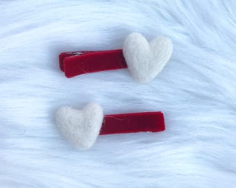 Sweetheart wool felted mini heart clips pig tail set