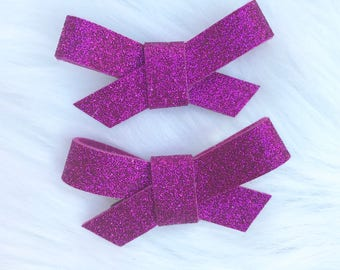 Lipstick glitter Madison bows on clips or headbands