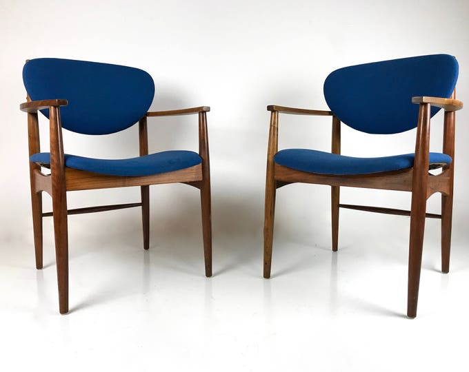Pair of Mid Century Modern Sculpted Wood Blue Fabric Chairs