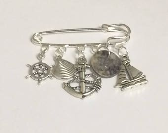 Nautical Charm Pin/ Sailing Themed Kilt Pin Brooch/ Gift for a Sailor