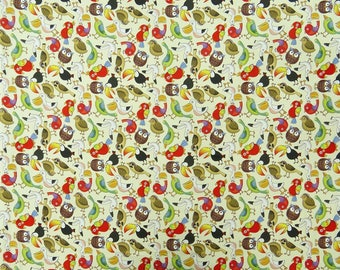"""Bird Print, Quilt Material, Beige Fabric, Sewing Crafts Accessories, Decor Fabric, 46"""" Inch Cotton Fabric By The Yard ZBC8573A"""