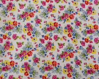 "Floral Print Fabric, Dress Material, White Fabric, Quilt Fabric, Home Accessories, 42"" Inch Cotton Fabric By The Yard ZBC9305A"
