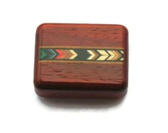 Padauk Wood Colored Arrows Inlaid Pocket pill box