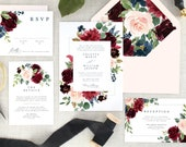 Floral Wedding Invitation Set - Fall Wedding Invitations - Burgundy Wedding Invitation Navy - Marsala Wedding Invitation Printed - Set of 10