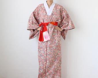 Nagajuban, oriental floral kimono under wear, Japanese kimono, robe, dusky pink /1842