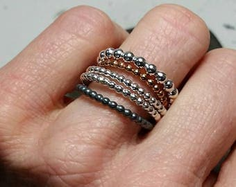 1 x silver or brass stacking ring, women's ring. Two pearl sizes!