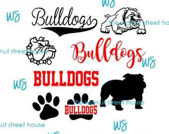 SVG - Bulldog SvG. JPG included. Digitally downloadable file only Mascot Bulldog Logo TEam Spirit Logo,  Bulldog Clipart