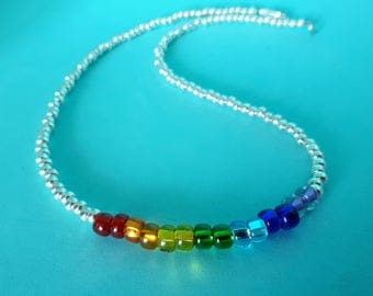 NEW! Over The Rainbow: Glass Seed Bead Rainbow Chakra Necklace