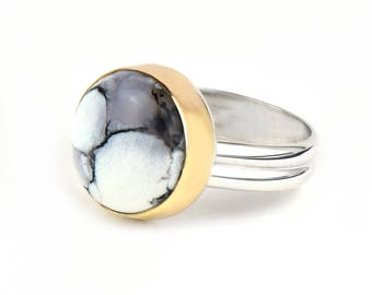 Dendritic Agate Ring - Sterling Silver Cocktail Ring - Unique Rings for Her - Boho Statement Ring - Handmade Black and White Gemstone Ring
