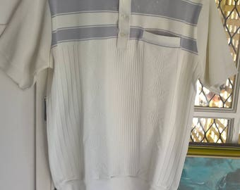 Mens Vintage 80s s/s polyester smart casual shirt.RSL. Bowls shirt. Size M-L