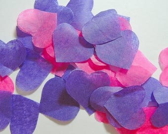 Purple pink heart confetti - stain not - 25 handles (handmade)