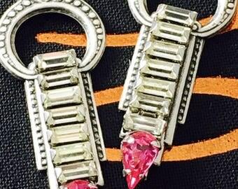 Pink Rhinestone Great Gatsby Earrings/OOAK rhinestone Assemblage Earrings/Vintage Repurposed Rhinestone Costume Jewelry/Art Deco Brass Stamp