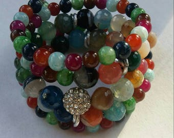 Bracelet made with Agate multicolor