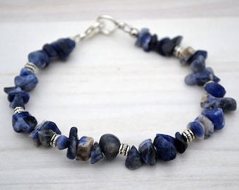 Sodalite chips bracelet, Sodalite bracelet, Sodalite jewelry, Sodalite gift, Genuine sodalite bracelet, Buy one get one free.
