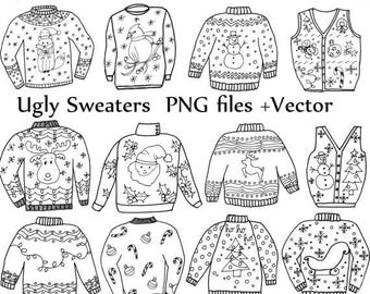 """40%SALE Ugly Sweater ClipArt: """"CHRISTMAS CLIPART"""" Holiday Clipart Doodle clipart ugly sweater clip art vector files Christmas Jumper Doodle"""