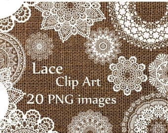 "40%SALE Digital lace clipart: ""LACE CLIP Art"" wedding lace white lace Lace Doilies Clipart Wedding Clip art  Lace Vintage Doilies White Lace"