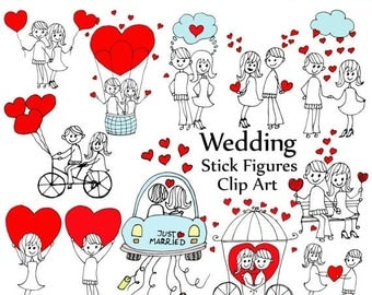 "40%SALE Wedding stick figure clipart: ""STICK FIGURES""  Bride and Groom Couple Figure clipart Diy clipart wedding invites invitation clipart"