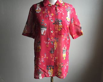 vintage geiger collections potted plant print salmon gauze short sleeve button up collar cotton blouse made in austria
