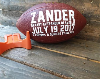 Baby boy football birth announcement name and stats