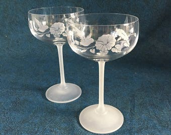 Vintage Hummingbird Toasting Glasses with Frosted Stems, Set of 2