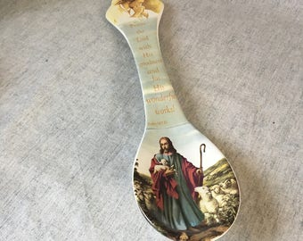 Vintage Psalm 107:31 Oversized Kitchen Spoon, Wall Decor, Religious Decor, Spritual Gift